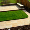 Sawn Stone Patio with Oak Windbreak - Nottinghamshire