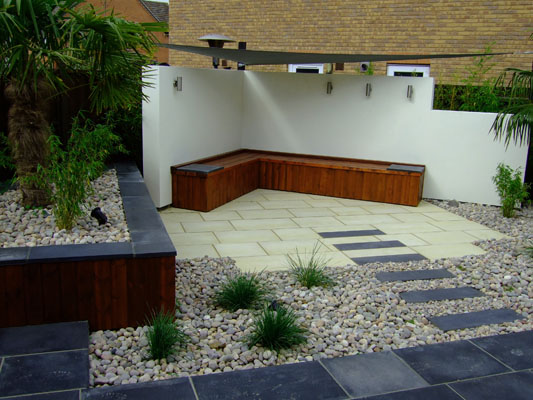 Rendered garden walls with shade sail